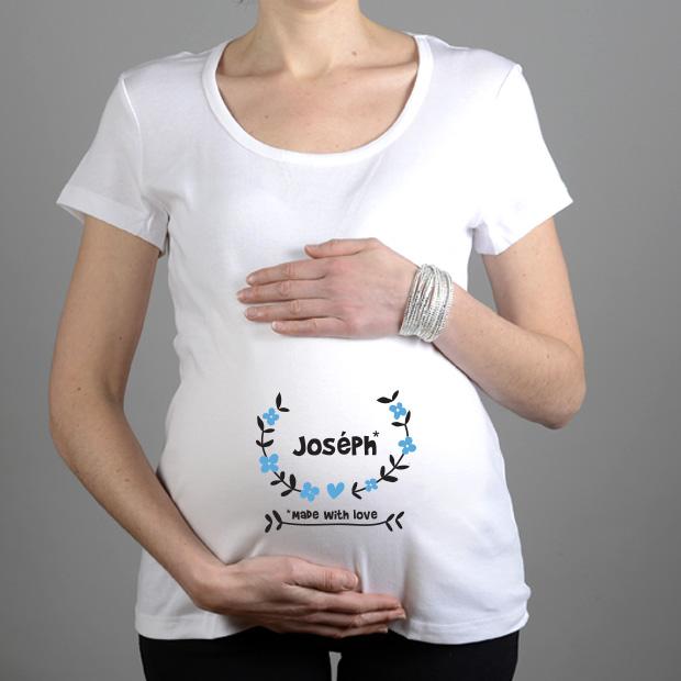 tshirt grossesse personnalis avec le prenom du b b. Black Bedroom Furniture Sets. Home Design Ideas